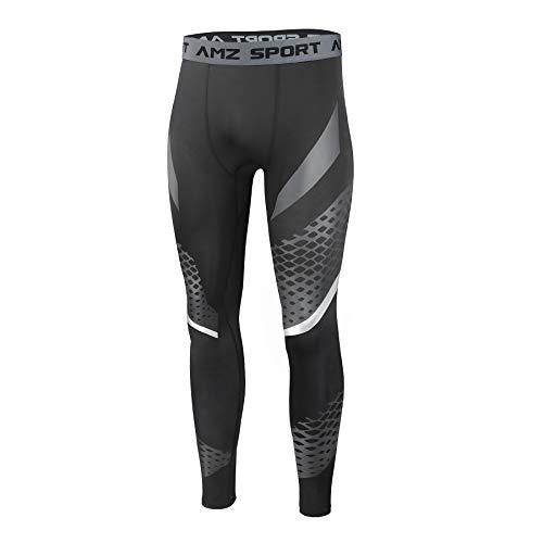 AMZSPORT Compressie-legging voor Heren Sneldrogend Basislaag Opleiding Broek