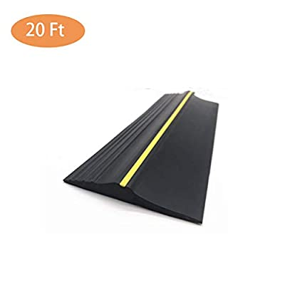 InLoveArts Garage Threshold Seal 20Ft Garage Water Barrier Garage Door Threshold Seal,Weatherproof Rubber DIY Weather Stripping Replacement,Not Include Sealant/Adhesive