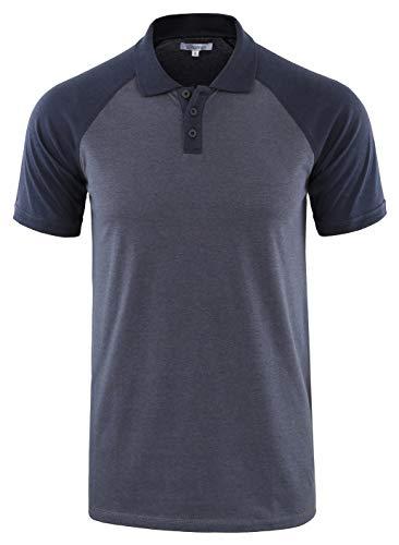 Vetemin Mens Casual Retro Short Sleeve Active Raglan Jersey Polo Henley T Shirt Cadet Blue/Navy M ()