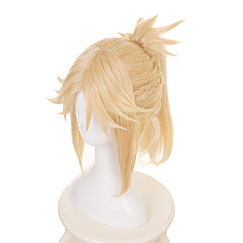 MUZI WIG Anime Cosplay Wig with Free Wig Cap for Fate/Apocrypha Mordred Saber of Red with Free Wig Cap