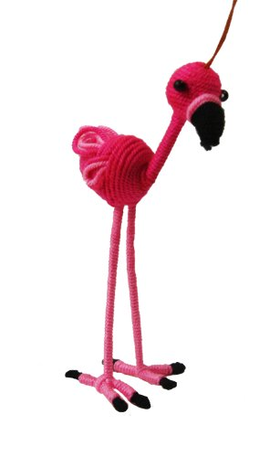 Fair Trade Yarn Flamingo Holiday Ornament