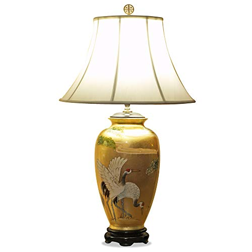 Hand Crafted Oriental Table Lamp with Shade - Gold Leaf Cranes - Leaf Cranes Gold