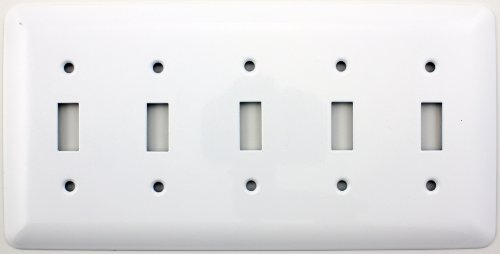 Mulberry Princess Style White Five Gang Toggle Switch Wall Plate