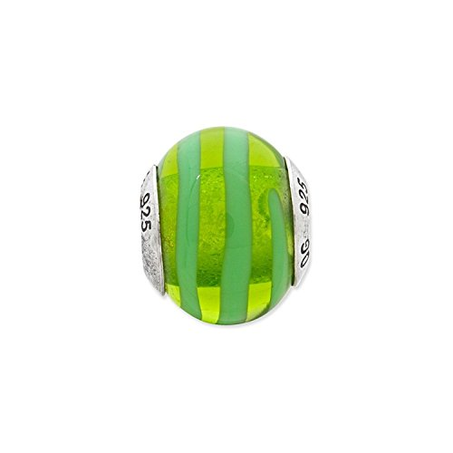Sterling Silver Reflections Green Italian Murano Bead (Sterling Reflections Green Silver)