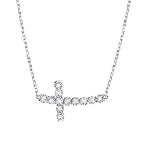 S925 Sterling Silver Sideways Cross CZ (Silver Side Cross Necklace)
