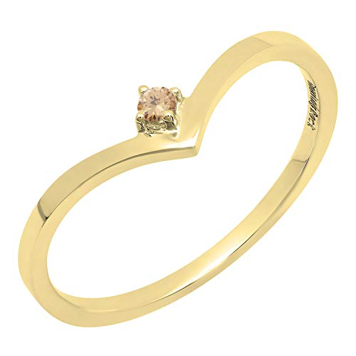 Dazzlingrock Collection 0.05 Carat (ctw) 14K Round Champagne Diamond Solitaire Engagement Ring, Yellow Gold, Size 8