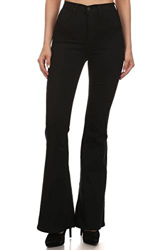 (Vibrant Women's Juniors Bell Bottom High Waist Fitted Denim Jeans,Black,1)