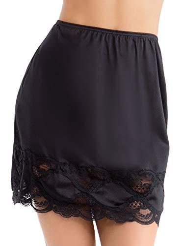 Ilusion 1017 - Women's Classic Lace Hem Skirt Slip (Black, Large 24 Inch Length)
