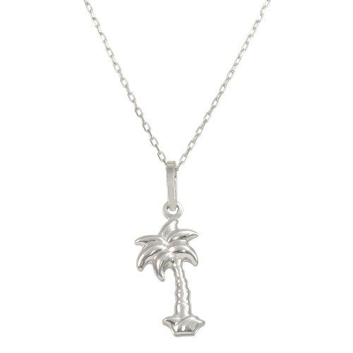 14K White Gold Palm Tree Pendant Necklace (16 Inches, Elongated Cable Chain) (White Gold Palm Tree Necklace)