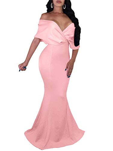 GOBLES Women Sexy V Neck Off The Shoulder Evening Gown Fishtail Maxi Dress Pink