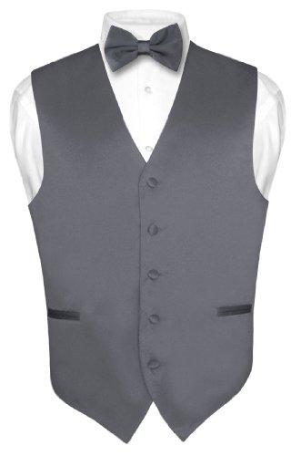 Men's Dress Vest & BowTie Solid CHARCOAL GREY Color Bow Tie Set Large