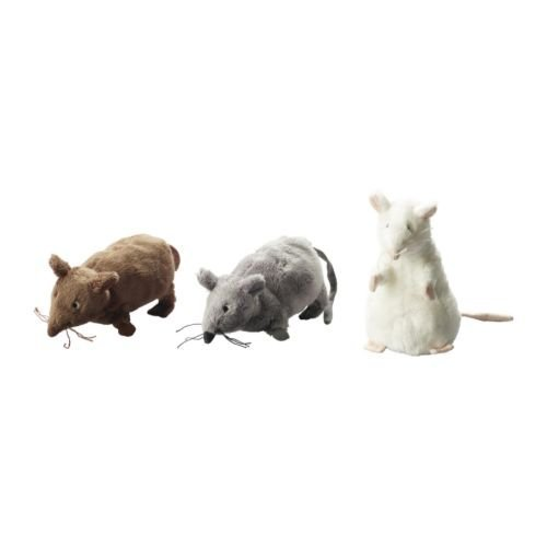 "Set of 3 - Ikea Gosig Mus Rat Mouse Stuffed Animal Soft Toy, White, Brown, Grey, 5 1/2"" by IEKA"