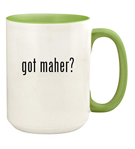 got maher? - 15oz Ceramic Colored Handle and Inside Coffee Mug Cup, Light Green