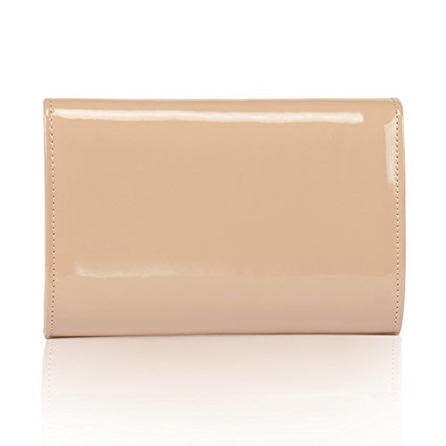 Women Patent Leather Wallets Fashion Clutch Purses,WALLYN'S Evening Bag Handbag Solid Color (New lightbrown) by WALLYN'S (Image #3)