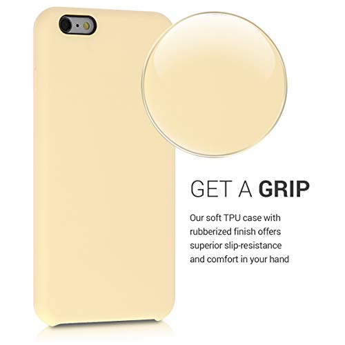 kwmobile TPU Silicone Case Compatible with Apple iPhone 6 Plus / 6S Plus - Soft Flexible Rubber Protective Cover - Light Yellow