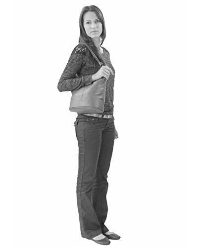 histoireDaccessoires - Bolso de Cuero de Mujer para Llevar al Hombro - SA134414GF-Floriane Azul Francia