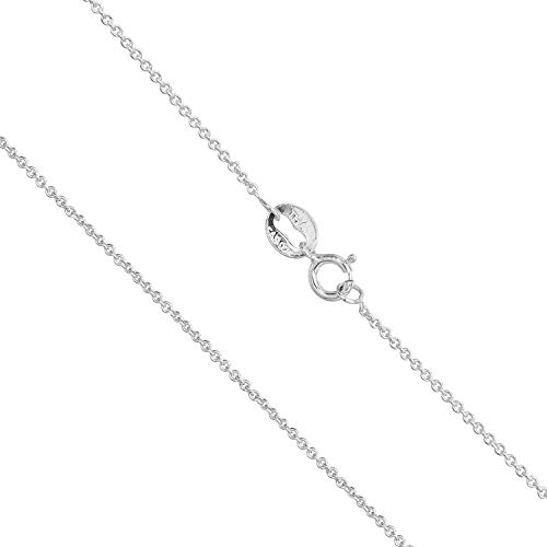Sea of Ice Sterling Silver 1mm Round Cable Chain Necklace for Women, Girls, Men Size 16 inch