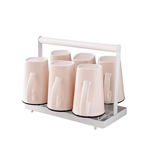 ACHKL Matte matte mug belt handle Household ceramic water cup 6 piece set simple office drink cup ACHKL (Color : Pink)