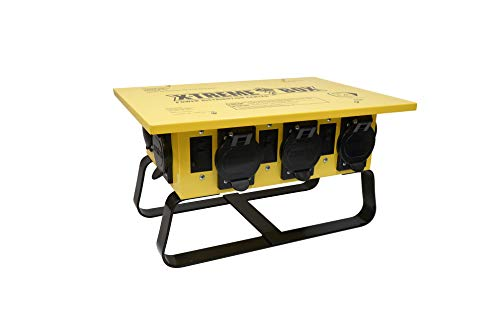 Volt Power Box - Southwire 019703R02 19703R02 Distribution Featuring 6 Straight Blade 1 Twist-Lock 30 Receptacle A Stackable, Portable Power Distributor Box for 50 amp, 125/250 Volt, 12,000 Watt, Yellow