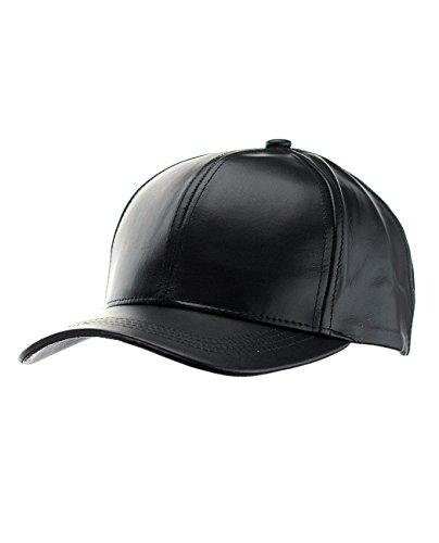 NYFASHION101 Unisex Adjustable Genuine Leather Baseball Cap Hat, Made in USA, Black (Baseball Leather For Women Hats)