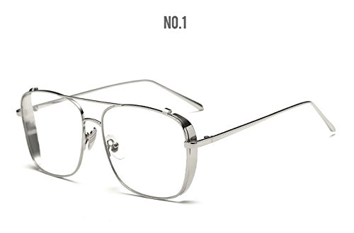 ef737b9c48b3 Image Unavailable. Image not available for. Colour  BuyWorld Square Oversized  Vintage Clear Lens Glasses Sunglasses Gold Frame for Men   Myopia Eyeglasses  ...