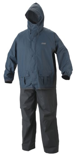 Gray Pvc Jacket (Coleman Men's 35mm PVC/Poly Rain Suit, Blue/Gray, Medium)