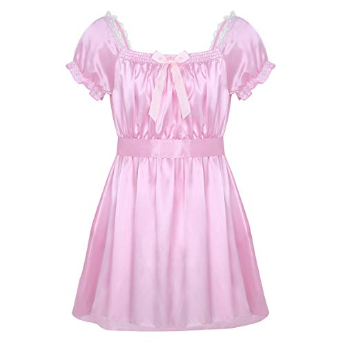 (dPois Mens Soft Shiny Satin Short Sleeve Girly Maid Sissy Crossdress Lingerie Dress with Sash Nightwear Underwear Pink Medium)