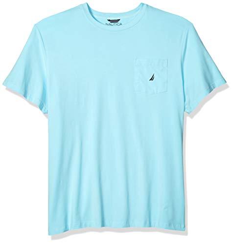 Nautica Men's Solid Crew Neck Short Sleeve Pocket T-Shirt, Bright Aqua, 5XLT Tall