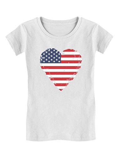 TeeStars - Love USA 4th of July American Heart Flag Girls' Fitted Kids T-Shirt XL (11-12) White