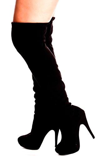 Lolli Couture für immer Link Kunstleder Lace UP lange Kampfstil mit Ferse kniehohe lange Stiefel Schwarz-komponieren-23