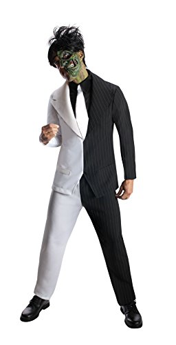 Rubie's Costume Men's Dc Super Villains Adult Two-Face, Black/White, (Two Face Batman Mask)