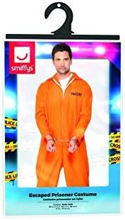 Smiffys Smiffys-29535L Disfraz de Prisionero huido, con Enterizo, Color Naranja, L-Tamaño 42