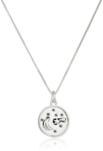 Sterling SilverI Love You To The Moon and Back Circle Shooting Star Pendant Necklace 18