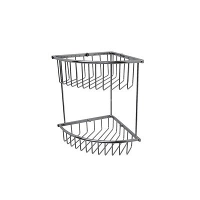(Essentials Double Corner Wire Soap Basket Finish: Satin Nickel)