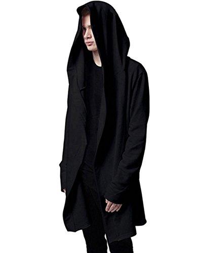 Mens Stylish Hip Hop Sweatshirt Long Hoodies Cardigan Black Cloak Outerwear (XX-Large) (Hooded Long Sleeve Hat)