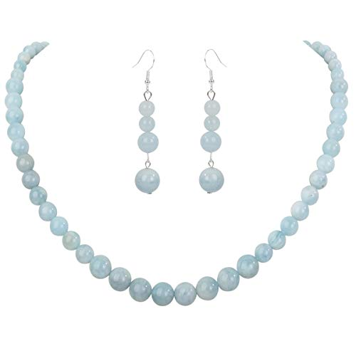 Aquamarine Bead Sets - YACQ 925 Sterling Silver Aquamarine 6mm 8mm 10mm Gemstone Beads Necklace Earrings Sets Handcrafted Jewelry for Women (20, Aquamarine)