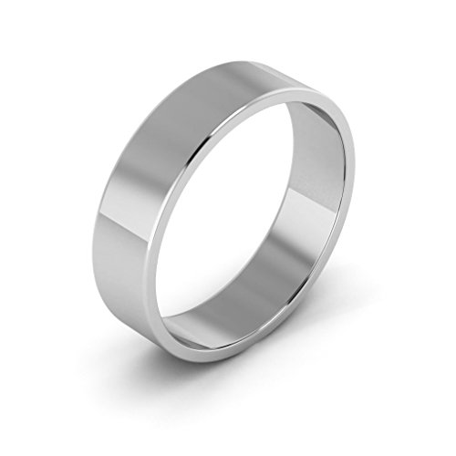 10K White Gold men's and women's plain wedding bands 5mm light flat, 10 by i Wedding Band