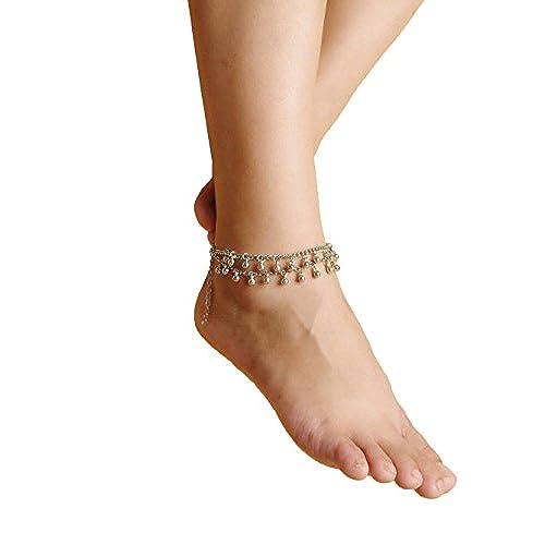 YiyiLai Bracelet de Cheville Mode Femme Chaîne Multirang Pendante Déguisement Plage Yoga Danse