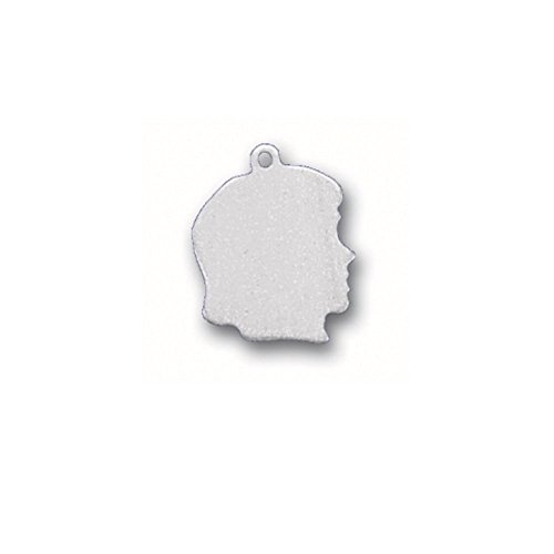 Sterling Silver Engraveable Girl Head Silhouette Charm Item -