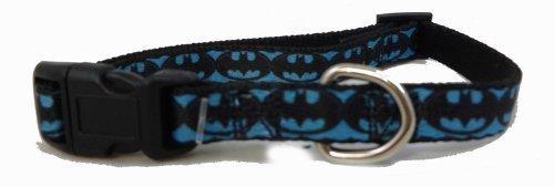 Batman Blue Black Logo Little Dog Collar 1/2 Inch Width 9-13 Inch Length