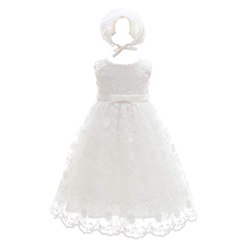 Baby Girls Floral Embroidered Overlay Sleeveless Christening Gown Baptism Tulle Dress with Bonnet Ivory Size 3M / 0-3Months