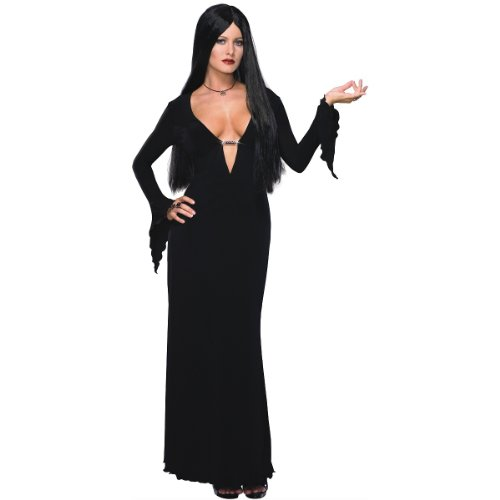 Morticia Costume Addams Family (Addams Family Morticia Addams Costume and Wig, Black, X-Small)