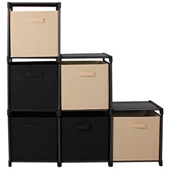 mockins 3 tier storage rack bookcase shelf bundle with 6 foldable cube storage bins that perfectly