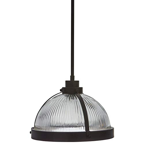 Stone & Beam Contemporary Ribbed Glass Shade Ceiling Pendant Fixture With Light Bulb - 13 x 13 x 11.8 Inches, Oil Rubbed Bronze