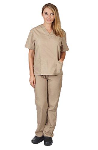 (Women's Scrub Set - Medical Scrub Top and Pant, Khaki, XX-Small)