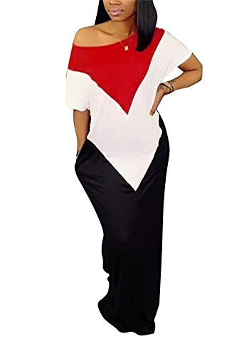 LKOUS Womens Summer Casual Cold One Shoulder Color Block Short Sleeve Loose Maxi Shirt Dress Plus Size