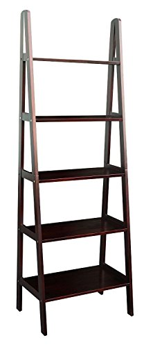 5 Shelf Ladder Bookcase Espresso - Medium Walnut Oak Bookcase