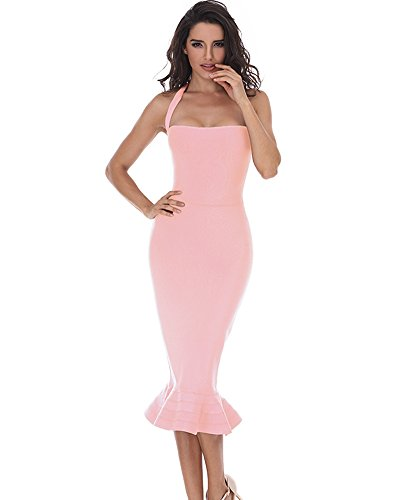 Whoinshop Women¡¯s Halter Sleeveless Mermaid Bodycon Bandage Cocktail Midi Dress (L, Pink)