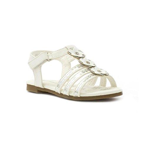 Walkright Mädchen Weiß Silberne Pailletten Riemensandale Weiß