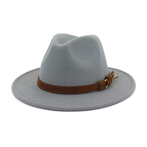 Lisianthus Men & Women Vintage Wide Brim Fedora Hat with Belt Buckle Light Grey 56-58cm (Grey Fedora Hat)